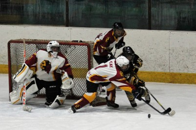 Action as Whitley Squaws (white) take on Bracknell Firebees.
