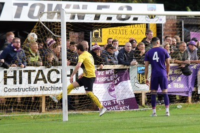 Luke Sullivan (yellow) celebrates after Graeme Armstrong (not pictured) opens the scoring for Hebburn.