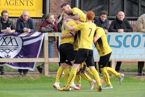 Celebrations after Hebburn's second goal.