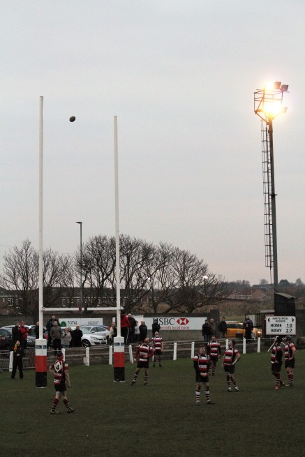 One of the floodlights at Hartlepool Rovers' Friarage ground.