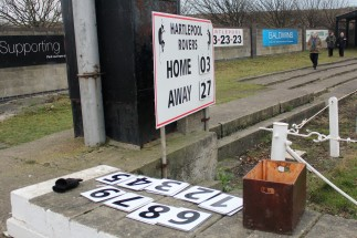 The scoreboard at Hartlepool Rovers' Friarage ground.