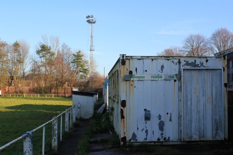 Dugouts and a temporary changing room at Albany Park.