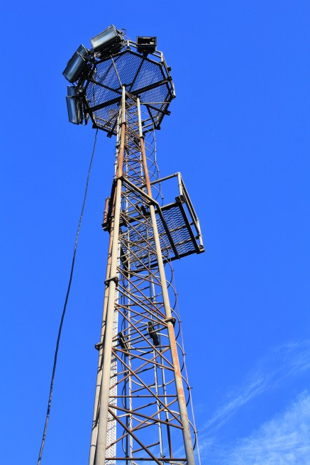 A floodlight pylon at Albany Park.
