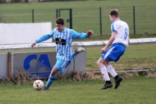 Action as Evenwood Town (blue and white) entertain Darlington GSOB in the Crook & District League.
