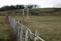 A rusting goal frame at Stanley Utd's Hilltop Ground in 2019.