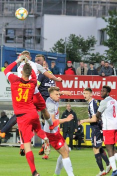 Action as FAC (blue) takes on FC Liefering in the Austrian second tier.
