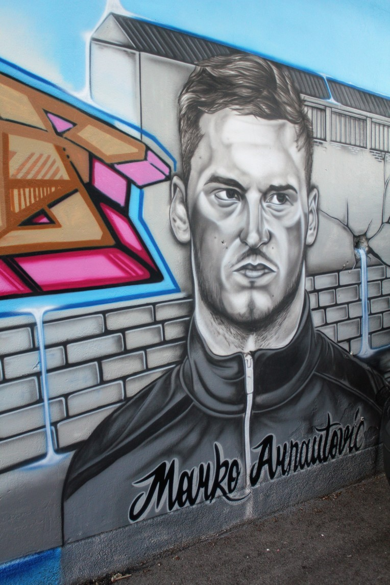 Marko Arnautovic remembered in a mural at FAC in his native Floridsdorf district of Vienna.