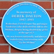 A memorial plaque for a Rotherham super-fan.