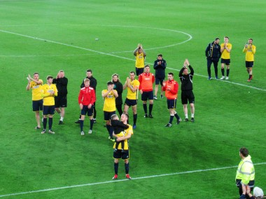 Marske's players applaud their fans at the end of the North Riding Senior Cup final.
