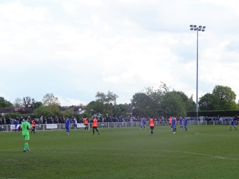 Met Police (blue) in Super Play-off action against Tonbridge Angels.