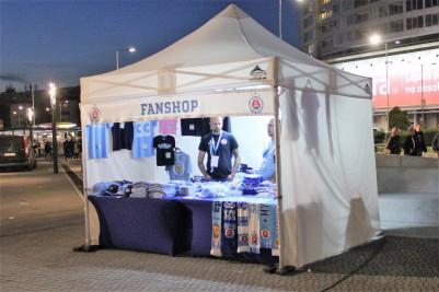 A fan shop outside the new Tehelne Pole stadium, Bratislava.