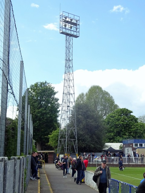 An old-style floodlight pylon at Imber Court.