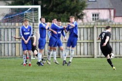 A Musselburgh free kick during an East of Scotland League game at Coldstream.