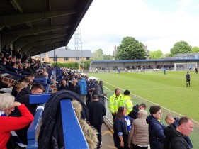 The main stand at Imber Court, home of Met Police FC.