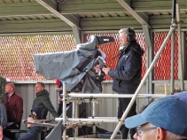 Part of the TV crew at Salford City.