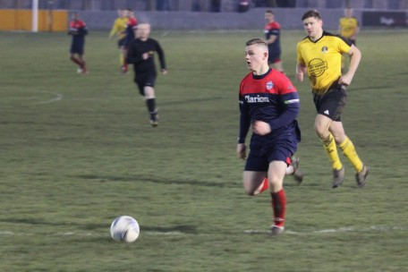 Yorkshire Amateurs' Stephen Smith runs at the West Auckland defence.