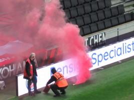 A smoke bomb following Sunderland's goal.
