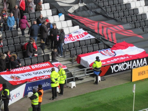 Banners in the Sunderland end at Stadium MK.