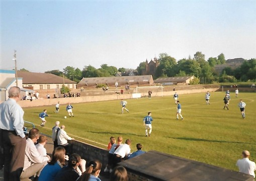Cambuslang Rangers (dark blue) vs Arthurlie at Somervell Park.